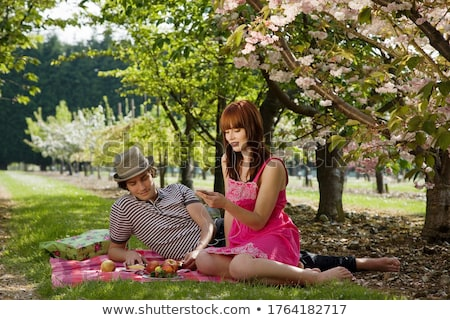 Women picnicking in orchard Stock photo © IS2