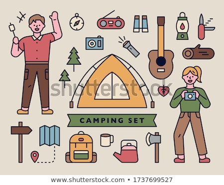Boy at camp with radio Stock photo © IS2