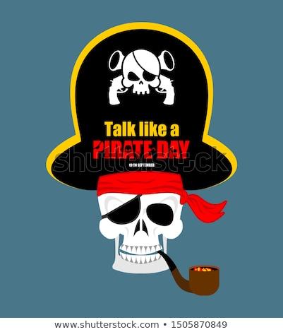 skull pirate portrait in hat eye patch filibuster cap skeleto stock photo © popaukropa
