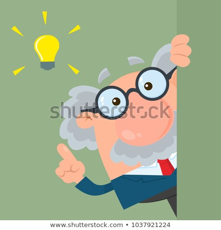professor or scientist cartoon character looking around corner with a big idea stock photo © hittoon