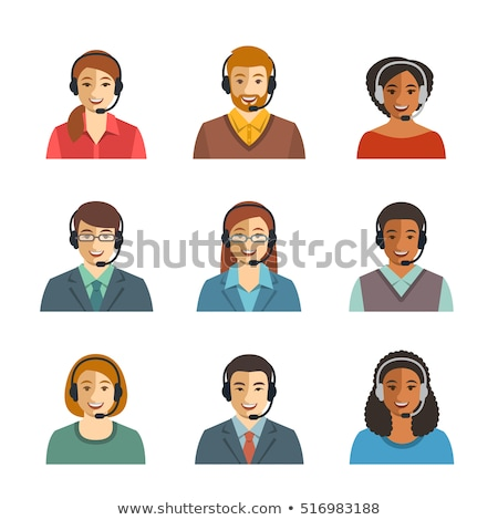 Foto stock: Call Center Icons Man Vector Cartoon Flat Illustration Isolated