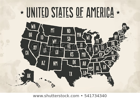 Poster map United States of America with state names vector ...
