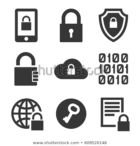 Stock fotó: Titkosítás · vektor · ikon · lakat · laptop · irat