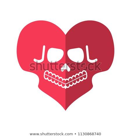Halott szeretet koponyák szív embléma festék Stock fotó © popaukropa