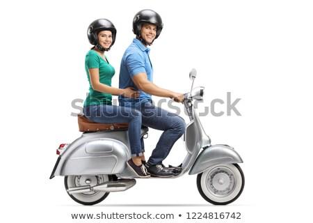 Namorada equitação namorado motocicleta mão Foto stock © Kzenon