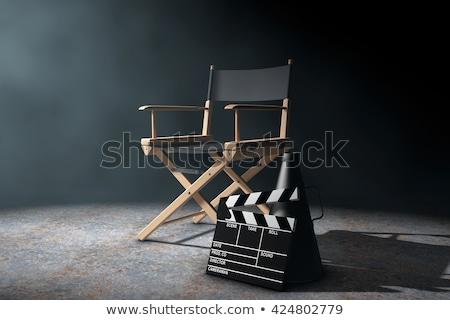 filme · diretor · jovem · feminino · inclinando-se · para · trás · cadeira - foto stock © JamiRae
