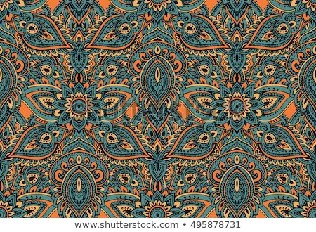 Colored Seamless Pattern with Floral Ethnic Motifs Stock photo © lissantee