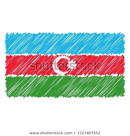 Dibujado a mano bandera Azerbaiyán aislado blanco vector Foto stock © garumna