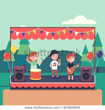 Teen Rock Band Playing Music On Guitar Vector. Isolated Illustration Stock photo © pikepicture