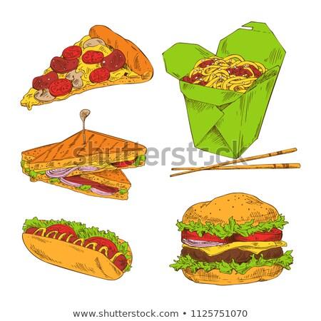 Pizza perro caliente sándwich grande hamburguesa Foto stock © robuart