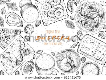 ビール チップ セット モノクロ フライドポテト ストックフォト © robuart