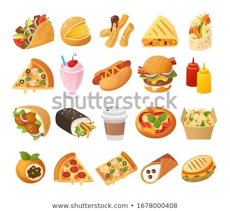Sosisli sandviç ayarlamak fast-food İtalyan geleneksel Stok fotoğraf © robuart