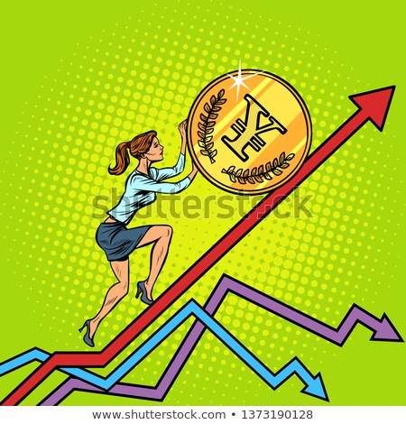 Kobieta kobieta interesu toczyć jen monety w górę Zdjęcia stock © studiostoks