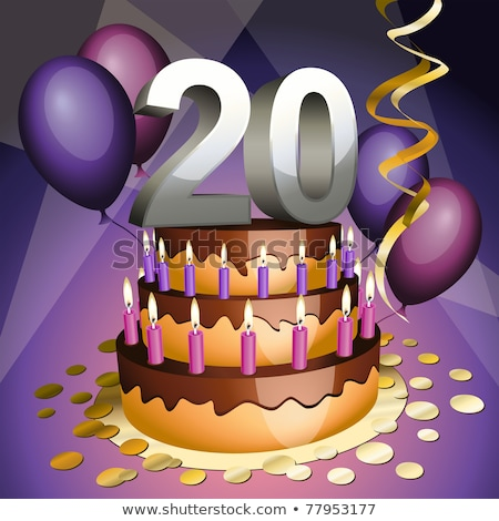 Verjaardag cake nummers kaarsen ballonnen gelukkig Stockfoto © tilo