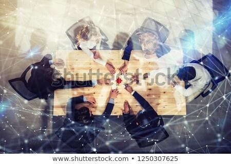teamwerk · integratie · puzzelstukjes · zakenlieden · kleurrijk · business - stockfoto © alphaspirit