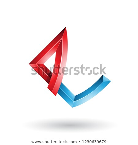 Red and Blue Embossed Letter E with Bended Joints Vector Illustr Stock photo © cidepix
