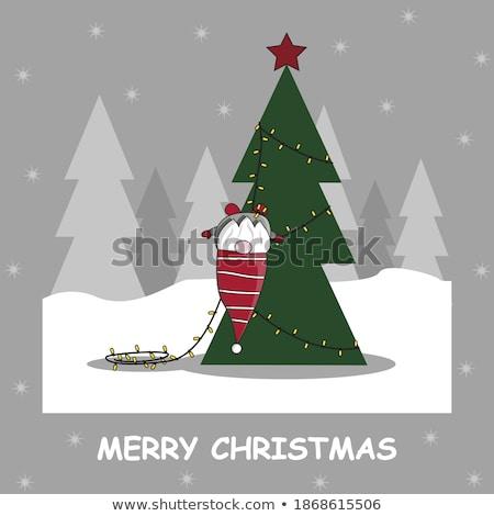 Karácsony fények fenyőfa ujjatlan kesztyűk fából készült fal Stock fotó © karandaev
