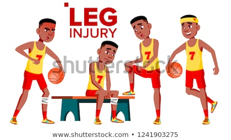 Seating Basketball Sportsman Athlete With Leg Injury Vector. Isolated Cartoon Illustration Stock photo © pikepicture