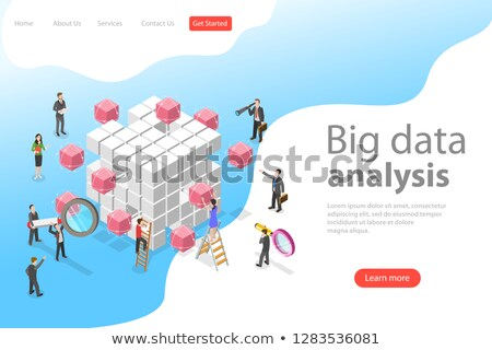 flat isometric vector concept of advanced analytics database research stock photo © tarikvision