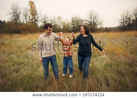 jongen · regenjas · bos · illustratie · kind · landschap - stockfoto © colematt