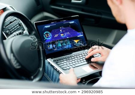 bestuurder · gps · laptop · laptop · computer · auto · man - stockfoto © vladacanon