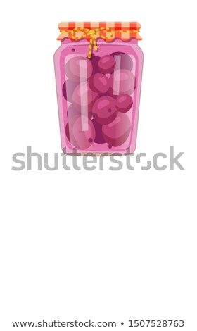 Preserved Food Poster Canned Purple Plums in Jar Stock photo © robuart
