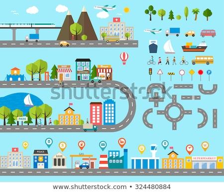 городской улице движения транспорт набор вектора светофора Сток-фото © robuart