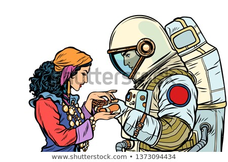 The fortune teller, and an astronaut. Isolate on white background Stock photo © studiostoks