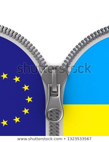 Zászló EU Ukrajna cipzár 3d illusztráció munka Stock fotó © ISerg