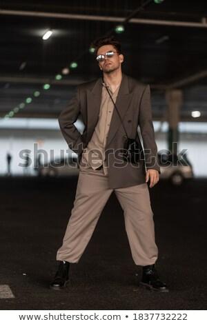 homem · bonito · óculos · de · sol · cara · modelo · estudante - foto stock © feedough