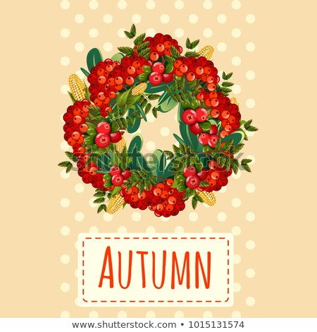 Cute poster or greeting card with modern design on theme of golden autumn. Ornate wreath of bunches  Stock photo © Lady-Luck