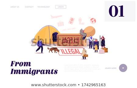 Leszállás oldal pici emberek menekült család Stock fotó © RAStudio