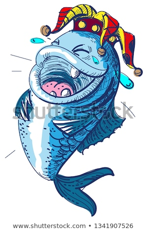 Fish laugh April 1 fools day. Clown crown king of fools Stock photo © orensila