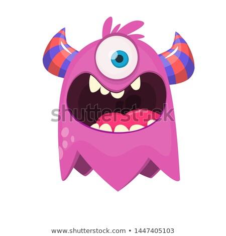 Szőrös egy szörny rajzfilmfigura repülés üdvözlőlap Stock fotó © hittoon