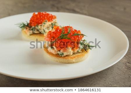 kenyér · sózott · kaviár · asztal · étel · hal - stock fotó © dolgachov