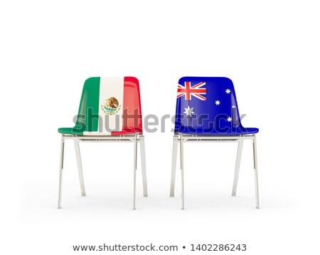 Twee stoelen vlaggen Australië Mexico geïsoleerd Stockfoto © MikhailMishchenko