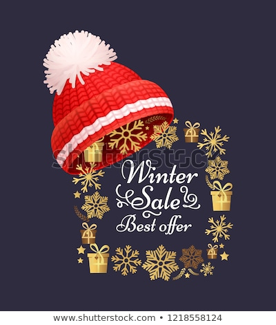 Winter Sale Poster Knitted Red Hat Vector Icon Stock photo © robuart
