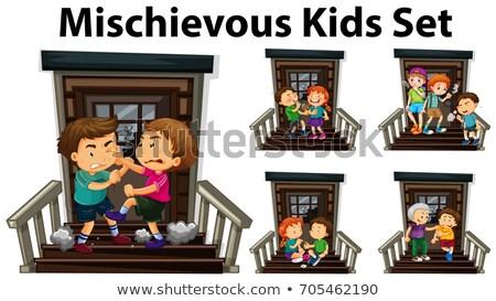 Beaucoup espiègle enfants porte d'entrée illustration fille Photo stock © colematt