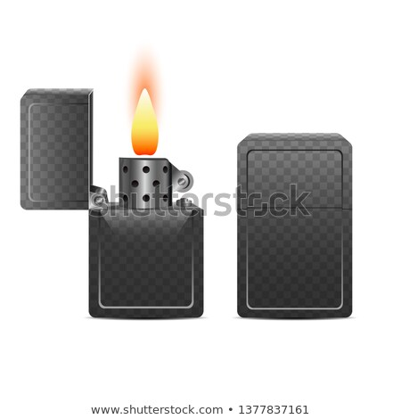 Lighter Vector. Fire Object Blank. 3D Realistic Lighter Icon. Hot Smoker. Metal. Illustration Stock photo © pikepicture