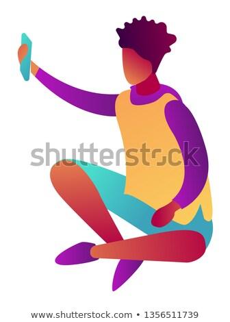 Businessman using smartphone sitting with crossed legs isometric 3D illustration. Stock photo © RAStudio