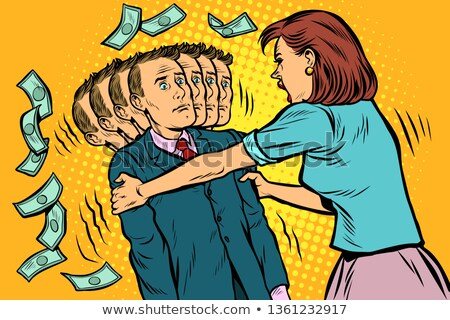 money demand. The wife shakes her husband. Women and men unequal relations, exploitation Stock photo © studiostoks