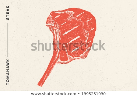 steak tomahawk poster with steak silhouette text stock photo © foxysgraphic