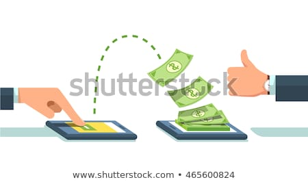 Photo stock: Sending And Receiving Money Wireless With Mobile Phones Cartoon