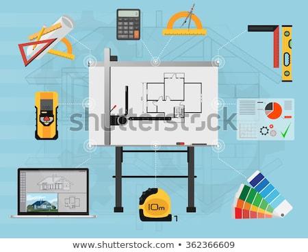 Man illustrator tekentafel home studio illustratie Stockfoto © lenm