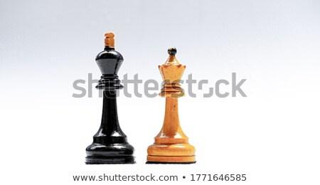 Rey del ajedrez reina blanco hombre madera Foto stock © bdspn