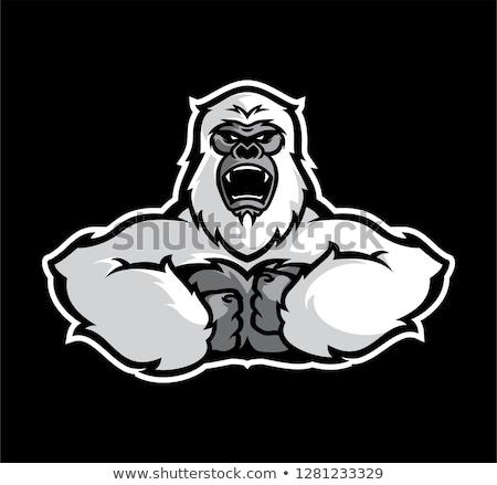 Cartoon · сердиться · горилла · черно · белые · иллюстрация · эмоций - Сток-фото © bennerdesign