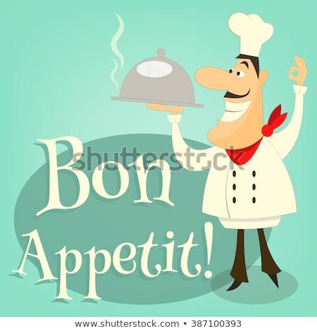 Chef Holding Plate Platter Sign Cartoon Stock photo © Krisdog