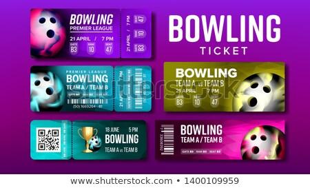 Elegáns terv bowling játék jegyek szett Stock fotó © pikepicture