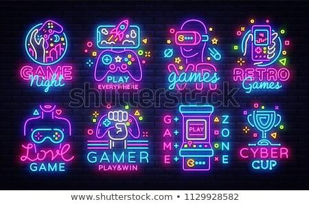 Computer neon etichetta elettronica promozione Foto d'archivio © Anna_leni