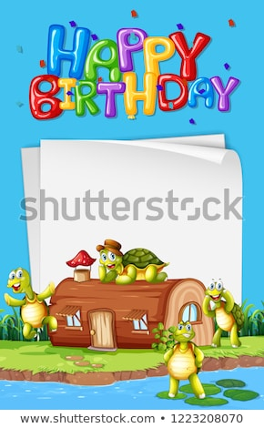 Stock photo: Turtle next to the house birthday template